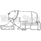 Clipart Outlined Man Kneeling And Cleaning With A Sponge - Royalty Free Vector Illustration © djart #1069036