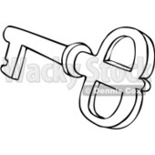 Clipart Outlined Skeleton Key 1 - Royalty Free Vector Illustration © djart #1069038