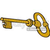 Clipart Gold Skeleton Key - Royalty Free Vector Illustration © djart #1069039