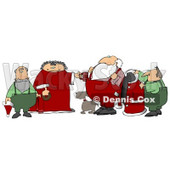 Helpers, Dog and the Mrs Helping Santa Claus Get Ready in the Morning Clipart Illustration © Dennis Cox #10692