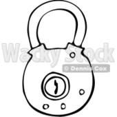 Clipart Outlined Round Padlock - Royalty Free Vector Illustration © djart #1069332