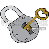 Clipart Skeleton Key And Padlock - Royalty Free Vector Illustration © djart #1069333