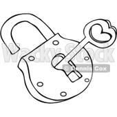 Clipart Outlined Skeleton Key And Padlock - Royalty Free Vector Illustration © djart #1069334