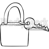 Clipart Outlined Key And Padlock - Royalty Free Vector Illustration © djart #1069336