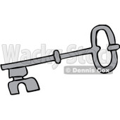 Clipart Gray Skeleton Key - Royalty Free Vector Illustration © djart #1069337