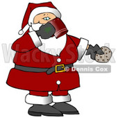 Santa Drinking Milk and Eating Cookies on Christmas Eve Clipart Illustration © djart #10694