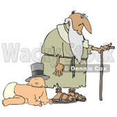 Baby Wearing a Hat and Crawling Alongside an Old Man With a Cane Clipart Illustration © Dennis Cox #10695
