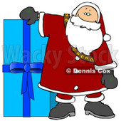 Santa Resting His Arm on a Giant Blue Christmas Present Clipart Illustration © djart #10696