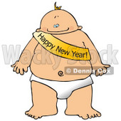 New Year's Baby Wearing a Happy New Year Sash Clipart Illustration © Dennis Cox #10697
