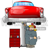 Female Mechanic Working On an Old Classic Car Clipart Illustration © Dennis Cox #10698