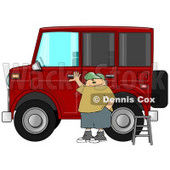 Man Standing a Ladder by His Lifted Hummer Car Clipart Illustration © Dennis Cox #10699