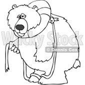 Clipart Outlined Bear With A Life Buoy On His Head - Royalty Free Vector Illustration © djart #1069900