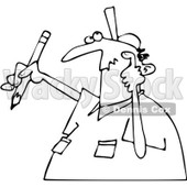 Clipart Outlined Author Man With Writers Block Scratching His Head And Holding A Pencil - Royalty Free Vector Illustration © djart #1071936