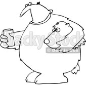 Clipart Outlined Mascot Man In A Bear Suit Holding A Glass Of Water - Royalty Free Vector Illustration © djart #1071937