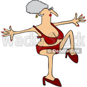 Clipart Senior Woman Doing A High Step In Heels And A Red Bikini - Royalty Free Vector Illustration © Dennis Cox #1071940