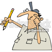 Clipart Author Man With Writers Block Scratching His Head And Holding A Pencil - Royalty Free Vector Illustration © djart #1071942