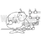 Clipart Outlined Gas Valve Repair Man - Royalty Free Vector Illustration © djart #1073092
