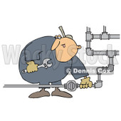 Clipart Natural Gas Valve Repair Man - Royalty Free Vector Illustration © Dennis Cox #1073095