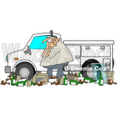 Clipart Man And Garbage By A Utility Truck - Royalty Free Vector Illustration © djart #1073585
