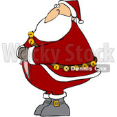 Clipart Santa Trying To Zip Up His Suit - Royalty Free Vector Illustration © djart #1074579