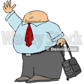 Traveling Businessman With Rolling Luggage, Waving Goodbye or Hailing a Taxi Cab Clipart Illustration © djart #10752