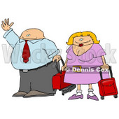 Middle Aged Traveling Couple With Luggage, Hailing a Taxi Cab Clipart Illustration © djart #10755