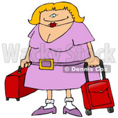 Traveling Blond Woman With Rolling Luggage at the Airport Clipart Illustration © Dennis Cox #10757