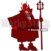 Clipart Red Devil Laughing And Holding A Pitchfork - Royalty Free Vector Illustration © Dennis Cox #1077719
