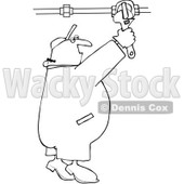 Clipart Outlined Plumber Turning On A Pipe Valve - Royalty Free Vector Illustration © djart #1077722