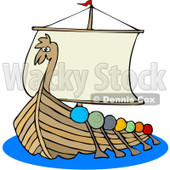 Clipart Viking Dragon Ship With Oars - Royalty Free Vector Illustration © djart #1078201
