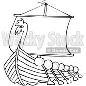 Clipart Outlined Viking Dragon Ship With Oars - Royalty Free Vector Illustration © djart #1078202