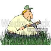 Clipart Man Mowing In Really Tall Grass - Royalty Free Vector Illustration © djart #1078203