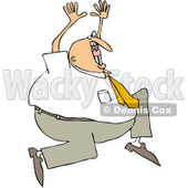 Clipart Crazy Businessman Running And Screaming - Royalty Free Vector Illustration © djart #1078206