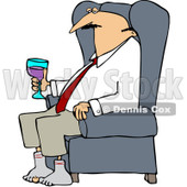 Clipart Tired Businessman Relaxing With Wine After A Long Day - Royalty Free Vector Illustration © djart #1078425
