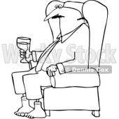 Clipart Outlined Businessman Relaxing With Wine After A Long Day - Royalty Free Vector Illustration © djart #1078426