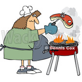 Clipart Woman Grilling Steak On A BBQ - Royalty Free Vector Illustration © djart #1078427
