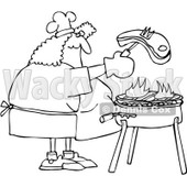Clipart Outlined Woman Grilling Steak On A BBQ - Royalty Free Vector Illustration © djart #1078428