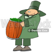 Happy St Paddy's Day Leprechuan Carrying a Barrel of Clovers Clipart © Dennis Cox #10788