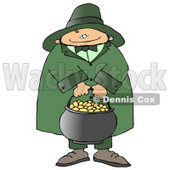 Happy Leprechaun Carrying a Pot of Gold on St Patricks Day Clipart © djart #10790