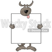 Happy Dog Holding a Blank Sign Clipart © Dennis Cox #10791