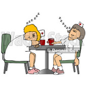 Two Exhausted Nurses Napping on a Break at the Hospital Clipart © djart #10792