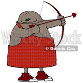Black Cupid Aiming a Bow and Arrow on Valentines Day Clipart Illustration © djart #10794