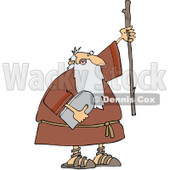 Clipart Moses Holding The Ten Commandments Tablet And Stick - Royalty Free Vector Illustration © djart #1079843