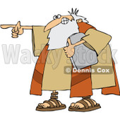 Clipart Moses Holding The Ten Commandments Tablet And Pointing - Royalty Free Vector Illustration © Dennis Cox #1079844