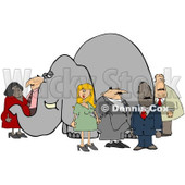 Clipart Group Of People Ignoring The Elephant In The Room 1 - Royalty Free Illustration © djart #1080342