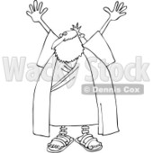 Clipart Outlined Moses Holding Up His Arms - Royalty Free Vector Illustration © djart #1080443