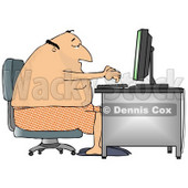 Man in His Boxers and Slippers, Typing on a Computer at a Desk Clipart Illustration © Dennis Cox #10807