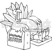 Clipart Outlined Tired Thanksgiving Turkey Lounging In A Recliner Chair - Royalty Free Vector Illustration © Dennis Cox #1080733