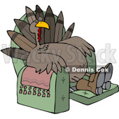 Clipart Tired Thanksgiving Turkey Lounging In A Recliner Chair - Royalty Free Vector Illustration © djart #1080734