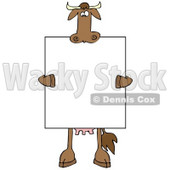 Brown Cow Holding and Standing Behind a Blank Sign Clipart Illustration © djart #10809